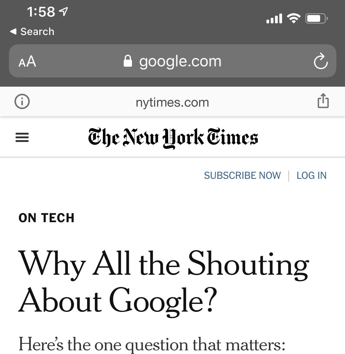 """Zrzut ekranu z przeglądarki internetowej na smartfonie. W pasku adresu widać """"google.com"""", ale strona wygląda jak The New York Times"""