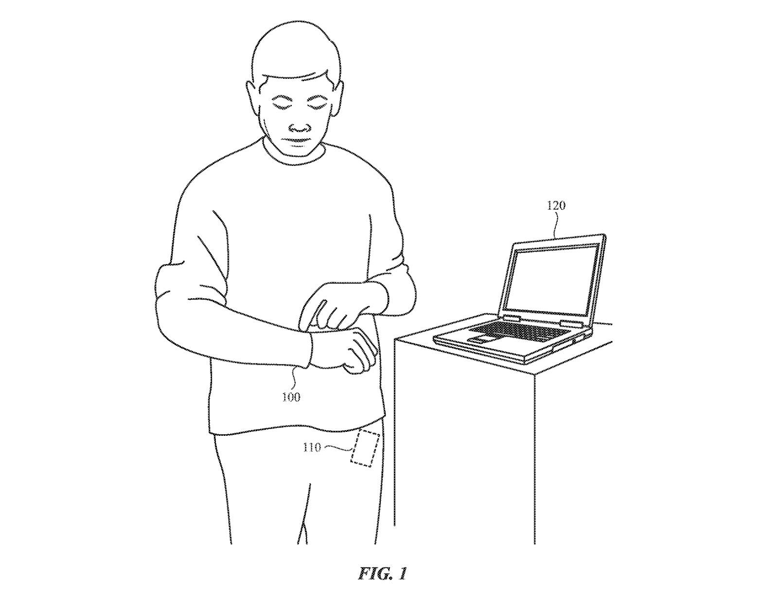 Rysunek z patentu złożonego przez Apple. Człowiek stoi przy laptopie i dotyka rękawa swojej bluzy. W jego kieszeni znajduje się schowany prostokąt