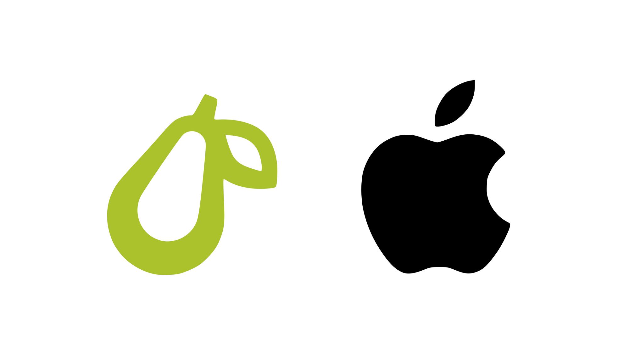Logo pozwanej firmy, w kształcie gruszki, i logo Apple