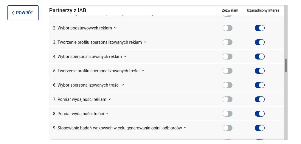 """Zrzut ekranu z okienka o zgody RODO ze strony wp.pl widać dwie kolumny pól do zaznaczenia: """"zezwalam"""" oraz """"uzasadniony interes"""". Po pasku przewijania widać, że na liście jest kilkaset wierszy."""