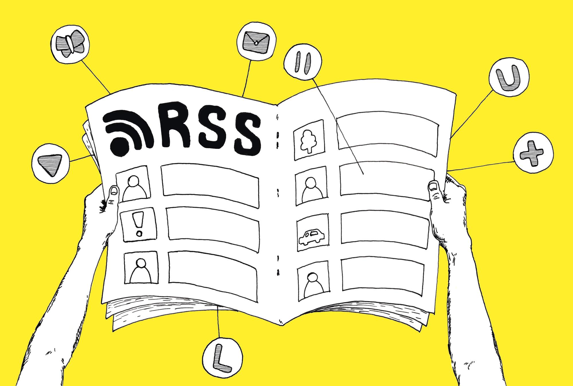 Ilustracja. Pokazuje trzymaną w rękach otwartą gazetę z napisem RSS. Dookoła gazety unoszą się ikony różnych stron i aplikacji, które są połączone z gazetą prostymi liniami.