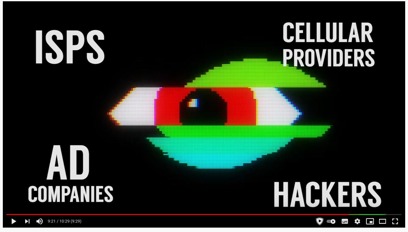 """Zrzut ekranu z reklamy VPN-a na youtube. Twierdzi, że VPN chroni użytkownika przed """"Ad companies and hackers"""""""