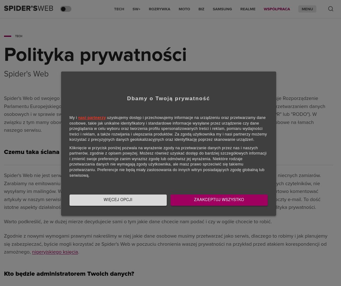 Zrzut ekranu ze strony polityki prywatności spidersweb.pl. Polityka prywatności jest zasłonięta przez okienko o rodo