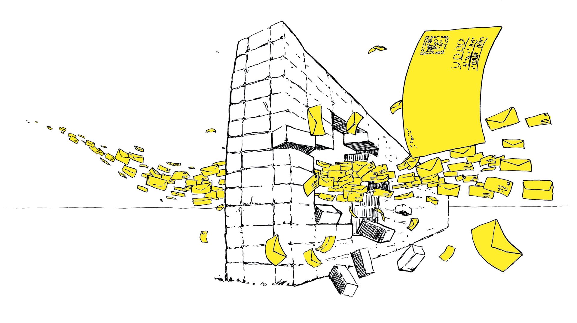 Ilustracja. Latające koperty przebijają dziurę w ceglanym murze. Na jednej z kopert widać zarys adresata: UODO